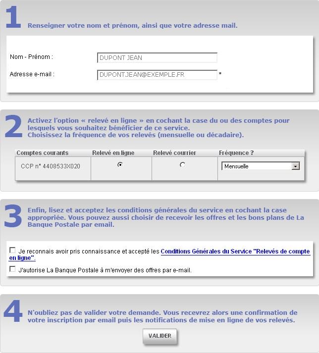 E-relevé de la Banque Postale