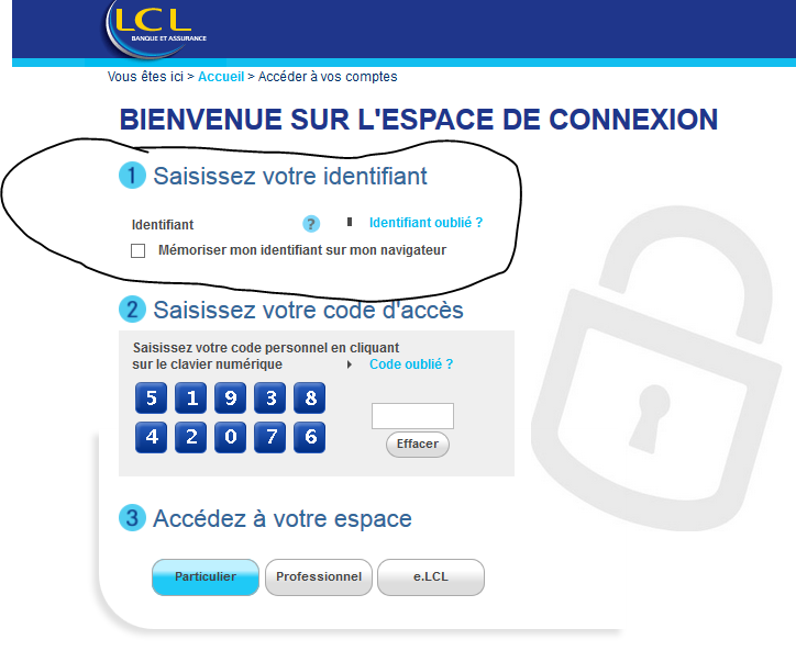 carte bleue bloquée 3 codes faux lcl Problèmes connexion LCL