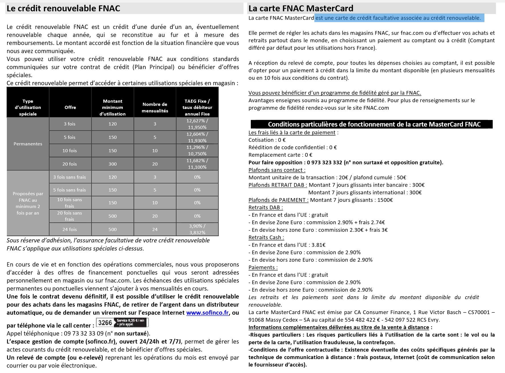 conditions carte mastercard fnac   Crédit et banque